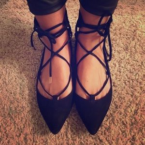 Topshop black pointed flats